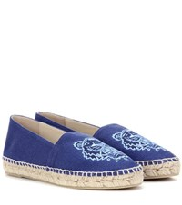 Kenzo Embroidered Espadrilles Blue