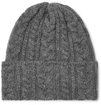 Drakes Drake's Cable Knit Wool Beanie Gray