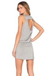 Chaser Drape Back Drawstring Mini Dress Gray