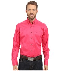 Ariat Fitted Solid Twill Shirt Fruit Punch Men's Long Sleeve Button Up Red