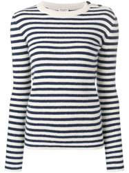 Saint Laurent Striped Fitted Sweater Blue
