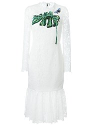 Dolce And Gabbana Embellished Lace Dress White