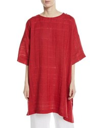 Eskandar Long A Line Knit Linen T Shirt Ruby
