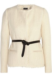 Isabel Marant Satchell Belted Wool Blend Boucle Jacket White
