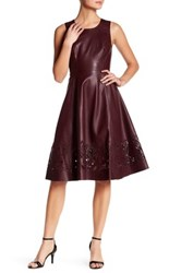 Catherine Malandrino Sleeveless Faux Leather Fit And Flare Dress Red