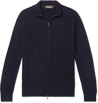 Loro Piana Slim Fit Baby Cashmere And Silk Blend Zip Up Cardigan Blue