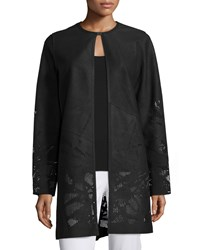 Elie Tahari Melody Leather Coat W Perforated Hem Black Men's Size Small