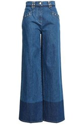Valentino Studded Two Tone High Rise Wide Leg Jeans Mid Denim