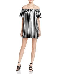 French Connection Striped Off The Shoulder Dress Black Cream