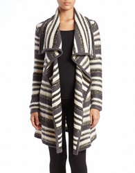 Kensie Oversized Open Front Cardigan Ivory Multi