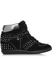 Michael Michael Kors Nikko Studded Suede High Top Sneakers Black