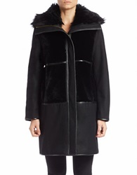 Bagatelle Lamb Shearling Collared Coat Black