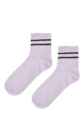 Topshop Roll Top Glitter Sporty Ankle Socks Lilac