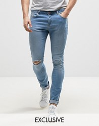 Brooklyn Supply Co. Co Light Washed Denim Dyker Jeans In Super Skinny Fit With Distressing Blue