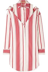 Hellessy Duquette Layered Striped Silk And Cotton Blend Shirt Bubblegum