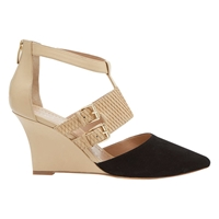 Mint Velvet Amy Suede Buckle Wedges Black