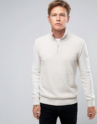Boss Orange Kwemare Half Zip Jumper Rib Neck Knit Cream