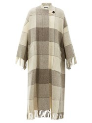 Jil Sander Luella Checked And Tassel Trimmed Wool Cape Coat Ivory Multi