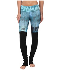 Alo Yoga Goddess Ribbed Legging Deep Teal Desert Sunset Print Women's Workout Blue