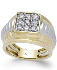 Macy's Men's Diamond Square Cluster Two Tone Ring 1 Ct. T.W. In 10K Gold And White Gold