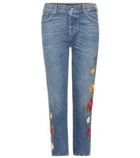 7 For All Mankind Josefina Crop Embroidered Jeans Blue