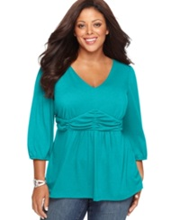 Ny Collection Plus Size Three Quarter Sleeve Ruched Empire Waist Top Capri Breeze