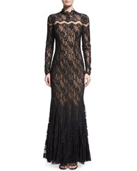 Mignon Long Sleeve Chevron Inset Lace Gown Black