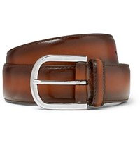 Andersons Anderson's 3.5Cm Brown Burnished Leather Belt Brown