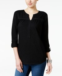 Styleandco. Style Co. Jacquard Roll Tab Tunic Only At Macy's Deep Black