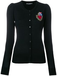 Dolce And Gabbana Sacred Heart Patch Cardigan Black