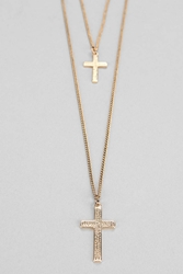 Urban Outfitters Double Cross Necklace Gold