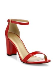 Stuart Weitzman Nearlynude Patent Leather Block Heel Sandals Red