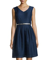 Ellen Tracy Striped Belted Fit And Flare Dress Navy