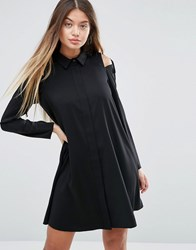 Asos Cold Shoulder Shirt Dress With Tie Detail Black