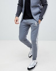 Gym King Skinny Joggers With Side Stripes In Grey