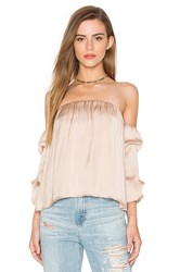 Bardot Caught Sleeve Bustier Top Beige