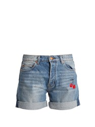 Bliss And Mischief Cherry Embroidered Denim Shorts