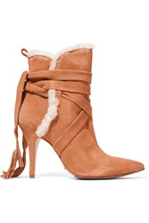 Schutz Shearling Trimmed Suede Ankle Boots Tan
