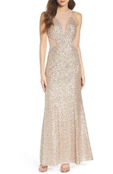 Aidan Mattox Women's By Illusion Cutout Sequin Mermaid Gown