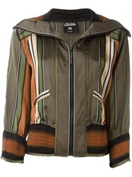 Jean Paul Gaultier Vintage Striped Bomber Jacket Multicolour