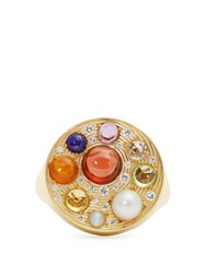 Noor Fares Diamond Topaz And Yellow Gold Ring Multi