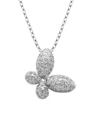 Lord And Taylor Cz Sterling Silver Butterfly Pendant Necklace