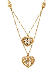 Lord And Taylor Gold Rush 18K Yellow Gold Polished Floral Heart Center Double Link Necklace