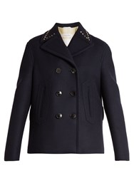 Valentino Rockstud Untitled 2 Double Faced Pea Coat Navy