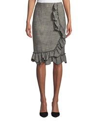 Rebecca Taylor Knee Length Plaid Skirt With Ruffle Trim Black Combo