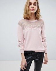 Hugo Signature Sweater With Lace Panel Light Pastel Pink