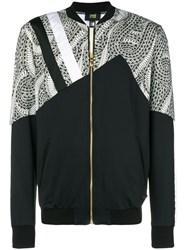 Class Roberto Cavalli Printed Panel Bomber Jacket Black