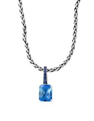 Effy Final Call Green Sapphire Blue Topaz And Sterling Silver Pendant Necklace