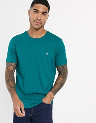Original Penguin Pin Point Embroidered Logo T Shirt In Green