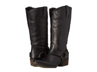 Gabriella Rocha Harness Wide Calf Black Vintage Leather Women's Zip Boots